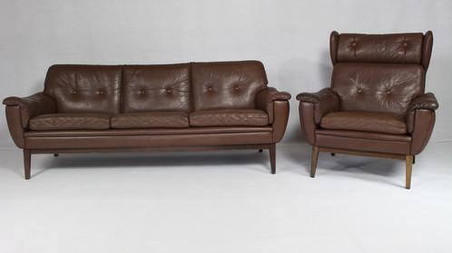 Danish Leather Sofa Armchair Vintage