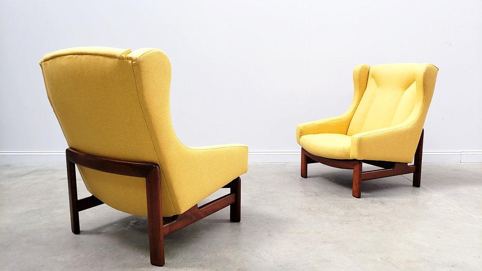 1960 Danish High Back Club Armchairs in Yellow