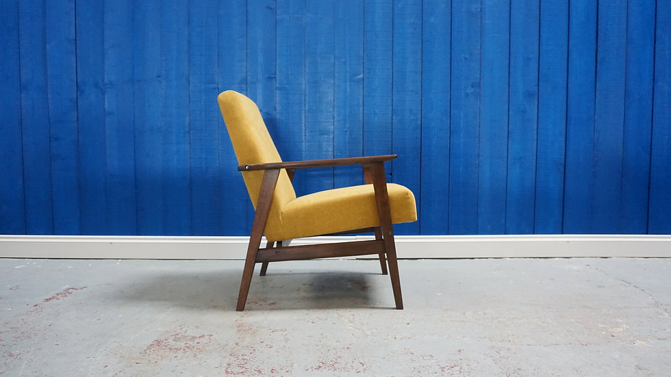 Mid Century Modern Lounge Chair in Yellow, from 1960's