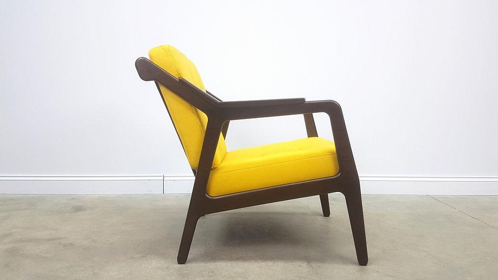 Rib Back Easy Chair in Yellow 100% Wool