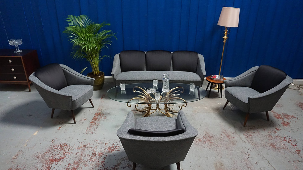 3 + 1 + 1 + 1 Mid Century French Livingroom Set from 1950's France Design Luxury Sofa Armchairs