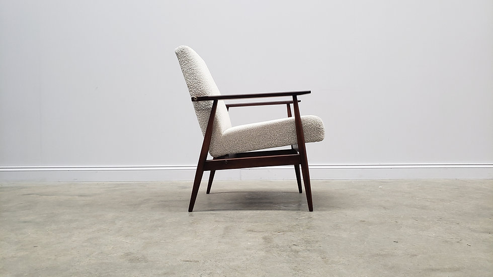 1960 Henryk Lis Mid Century Armchair in Neutral Bouclé Fabric