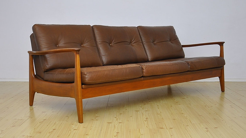 Leather Sofa Bed by Eugen Schmidt for Soloform, 1960s