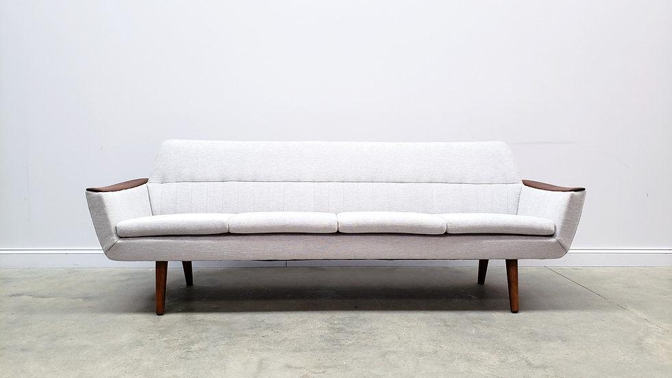 Mid Century Danish Teak Sofa in Light Grey, 1960