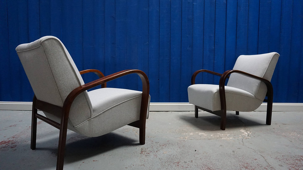 Lounge Chairs by K. Kozelka and A. Kropacek for Interier Praha, 1950s, Set of 2