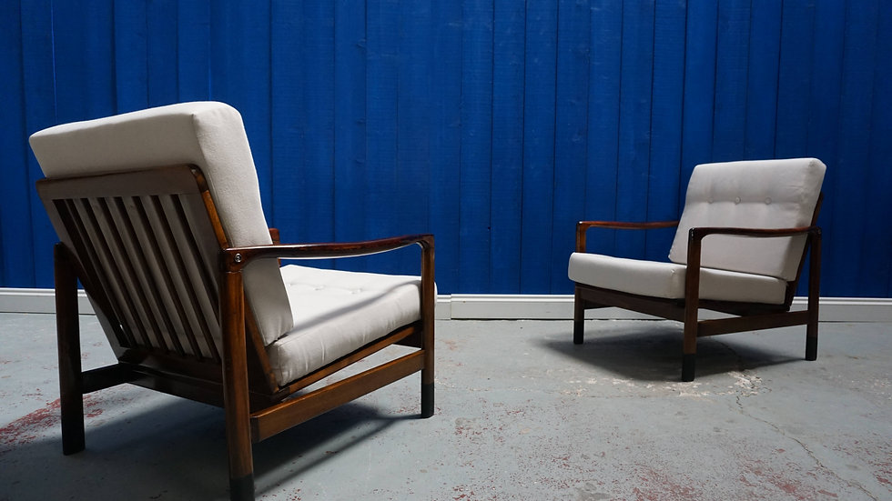 Mid Century Modern Club Armchairs from 1960's in White / Cream