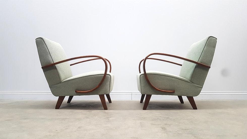Pair of 1930 Jindrich Halabala Bentwood Armchairs in Light Green Tweed,