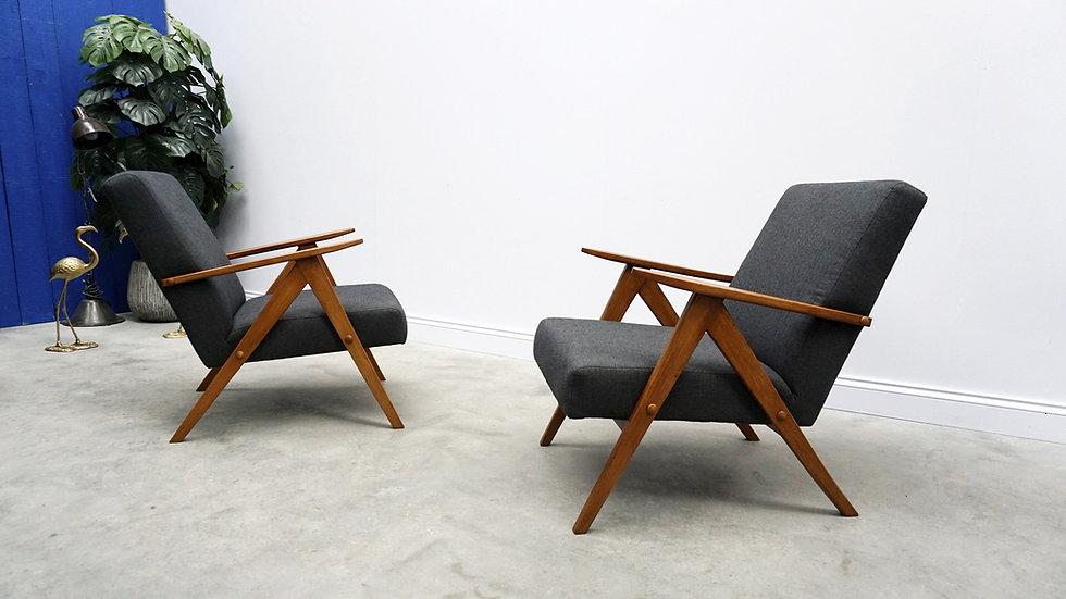 1960 Model B 310 Var Mid Century Easy Chairs in Charcoal Grey Tweed 1 of 2