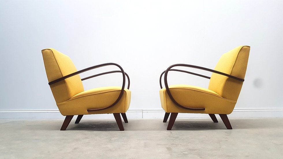 ONE Left Only, 1930 Jindrich Halabala Bentwood Armchairs in Yellow Tweed,