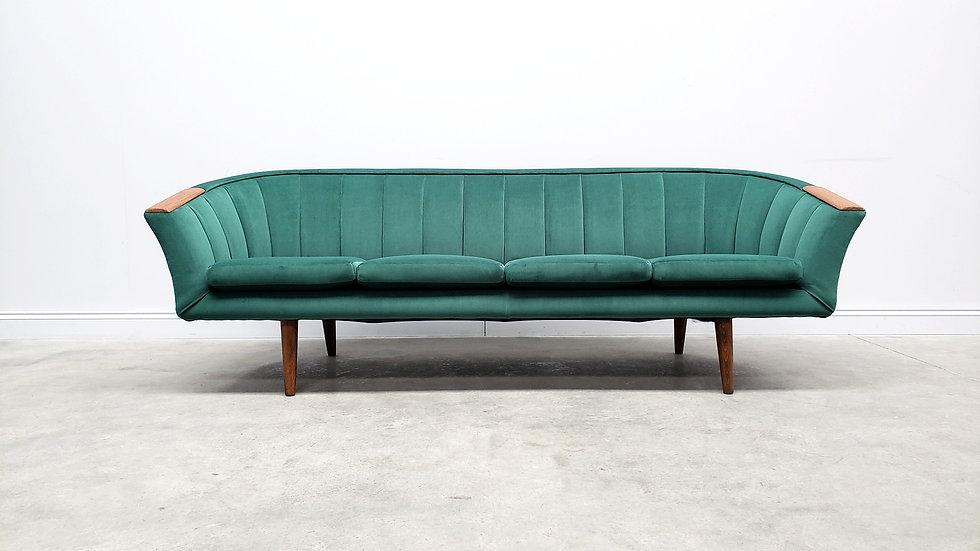 1950 Mid Century Danish Teak Sofa in Green Velvet