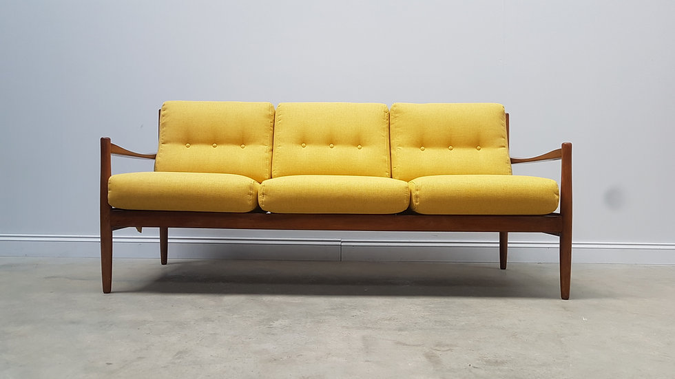 Mid Century Danish 3 Seat Sofa Bed from the 60's, in Yellow Tweed