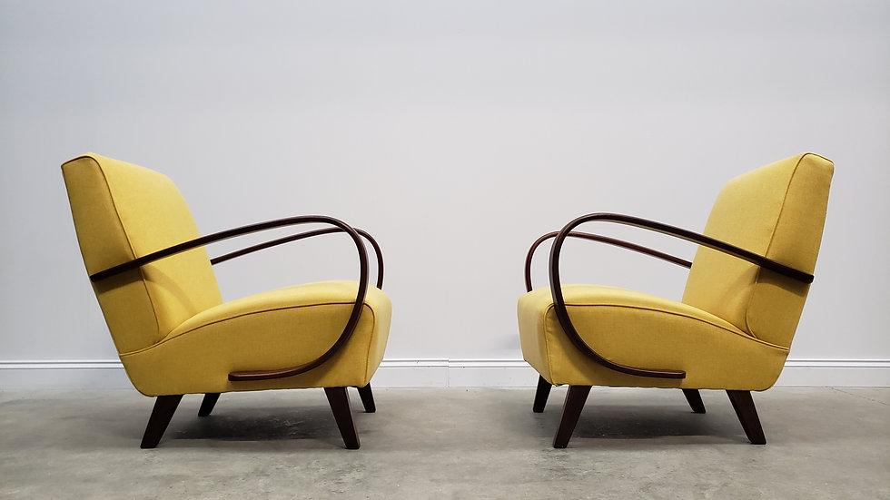 1930 Jindrich Halabala Bentwood Armchairs in Yellow Tweed, 1 of 2