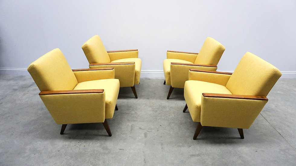 1960 Mid Century Danish Loungers Club Chairs in Yellow, 1 of 4