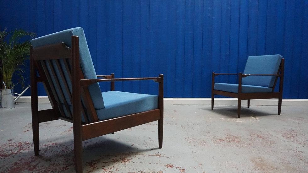 Mid Century Modern Danish Armchairs from 1960, Set of 2