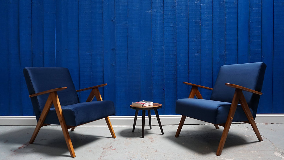 Mid Century Modern Easy Chairs from 1960's in Navy Blue Velvet, Set of 2