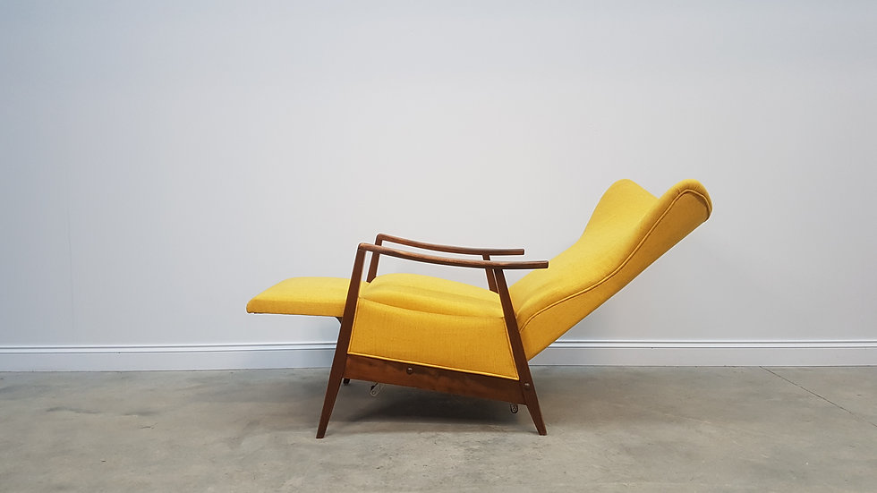 1960's Mid Century Danish Recliner Armchair in Yellow.