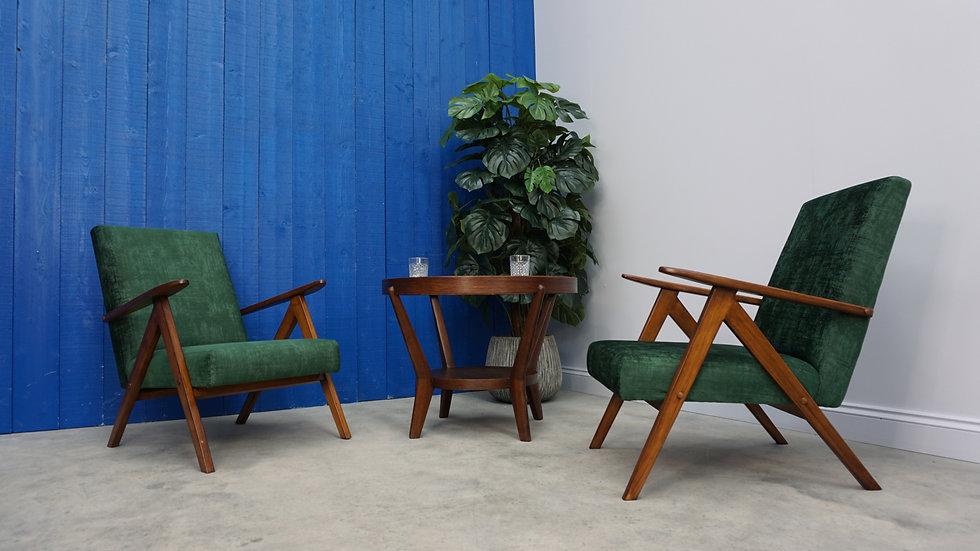 Model B 310 Var Mid Century Easy Chairs, in Dark Green Velvet, 1960, Set of 2