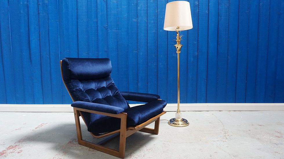 Mid Century Danish Armchair in Navy Blue Velvet, 1960's