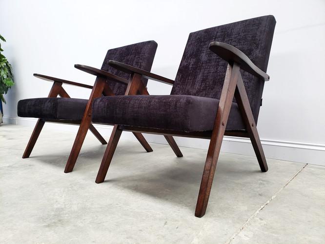 Model B 310 Var Mid Century Easy Oak Wood Chair in Black Velvet, 1960
