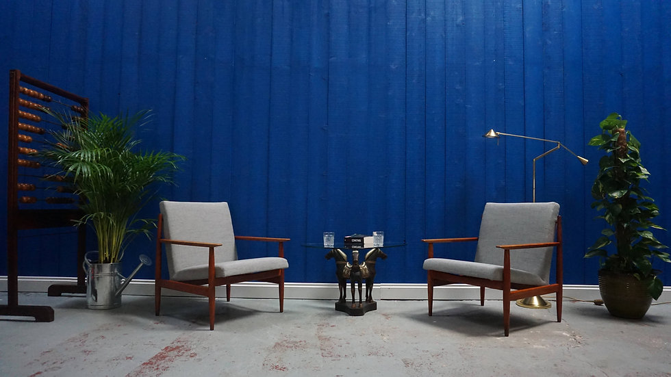 Mid Century Czech Armchairs in Grey, from 1960's, Set of 2