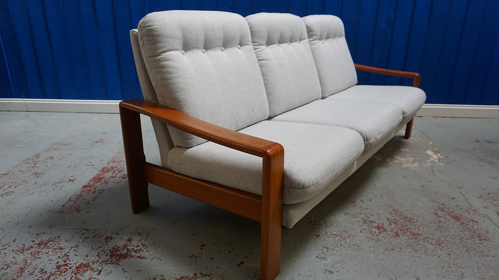 Mid Century Danish Teak 3 Seat Sofa in Grey Tweed, 1970's