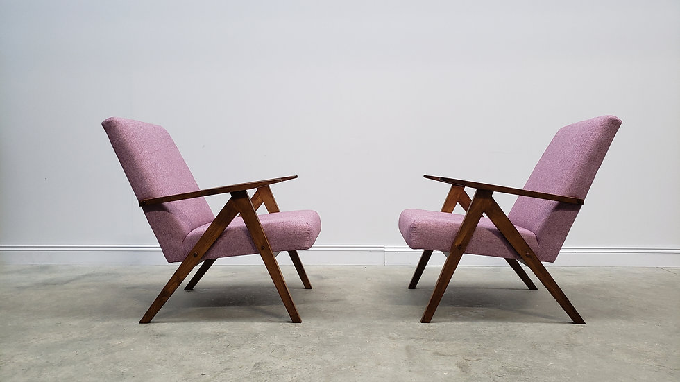 ONE Left Only - 1960 Mid Century Easy Chairs Model B - 310 Var in Pink Tweed