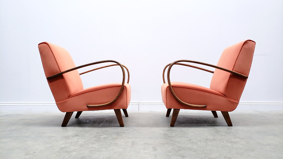 Jindrich Halabala Bentwood Armchair, Rust Salmon Orange Velvet