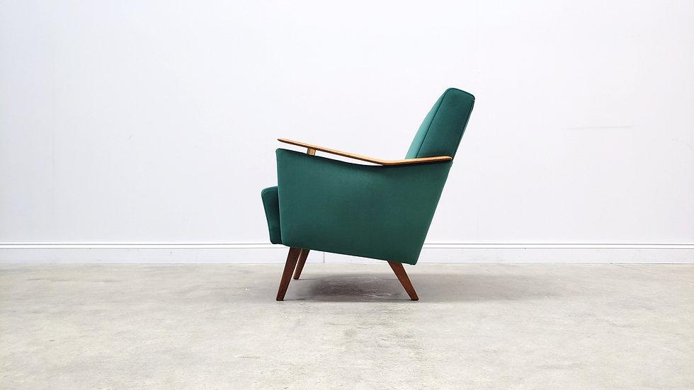 1960 Mid Century Danish Armchair in Green Velvet