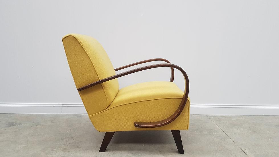 Jindrich Halabala Bentwood Armchair from Thonet 1930, Mild Yellow Tweed