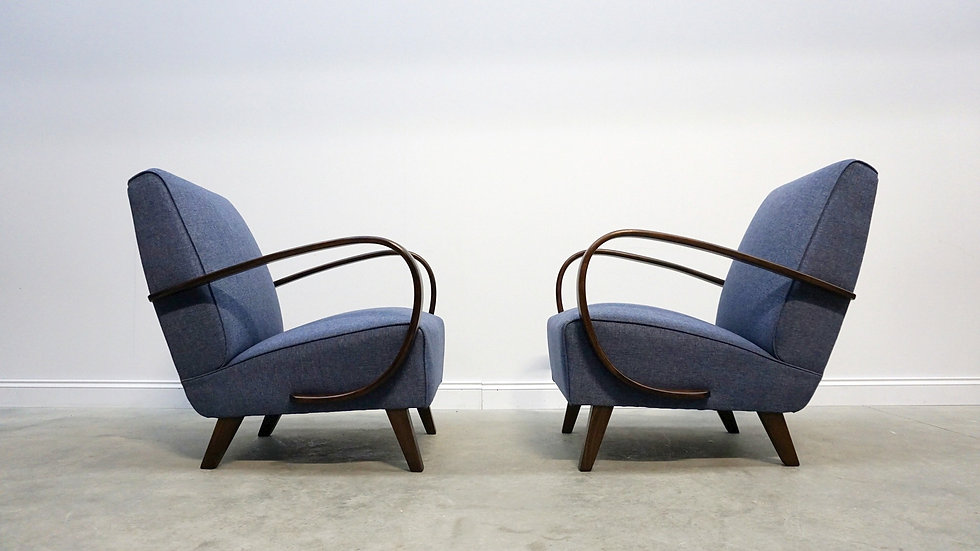 RESERVED - Pair of 1930 Jindrich Halabala Bentwood Armchairs in Navy Blue Tweed