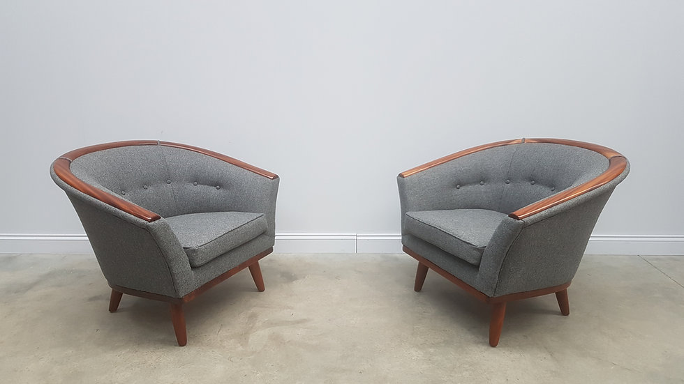 Pair of 1950 Mid Century Danish Lounge Chairs in 100% Grey Wool