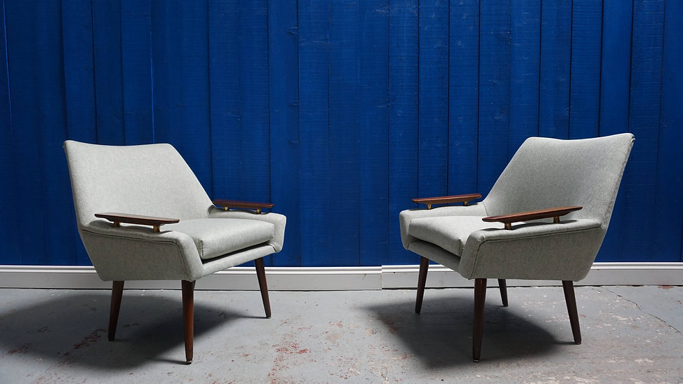 Mid Century Danish Easy Chairs form the 60's in Green Tweed