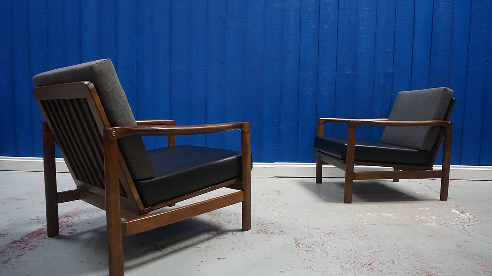 Mid Century Modern Club Armchairs from 1960's in Grey & Black, Set of 2