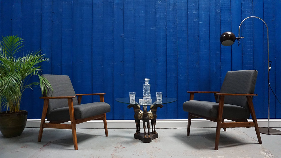 Mid Century Modern Easy Chairs from 1960's in Charcoal Tweed, Set of 2
