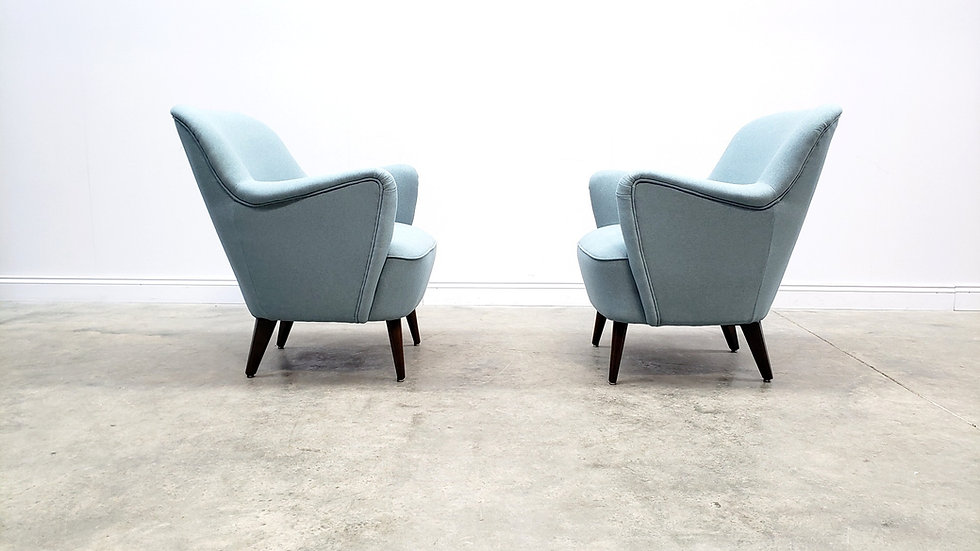 1950's Mid Century Armchairs in Pastel Blue Upholstery