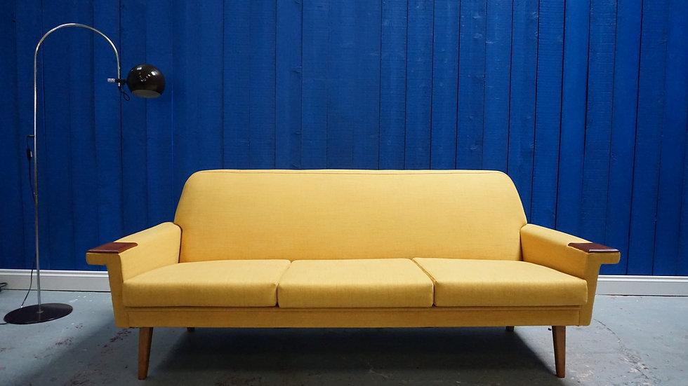 Mid Century Modern 3 Seater Danish Sofa in Yellow, 1960s Interior design Vintage