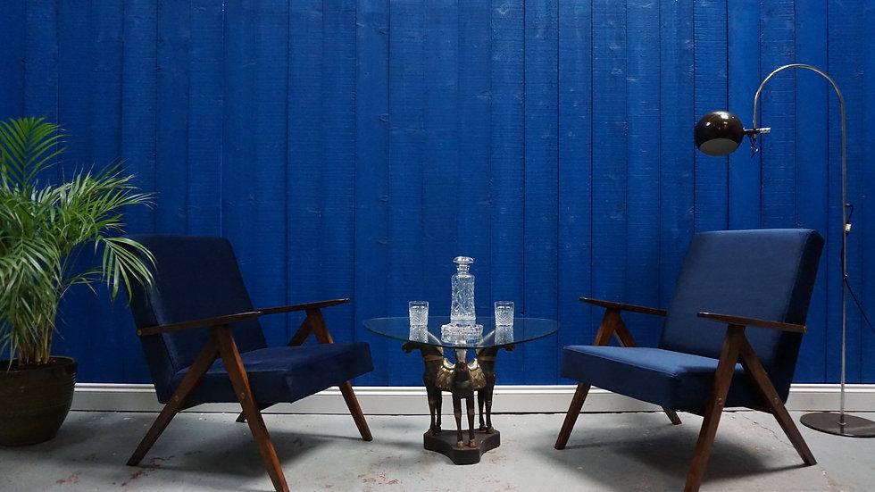 Mid Century Modern Easy Chairs from 1960's in Navy Blue Velvet, Set of 2