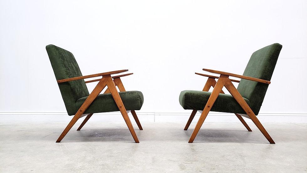 1960 Mid Century Easy Chair Model B 310 Var in Forest Green Velvet