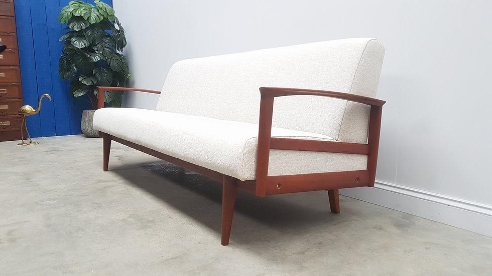 1960 Mid Century Danish Teak Sofa Bed  in Light Upholstery