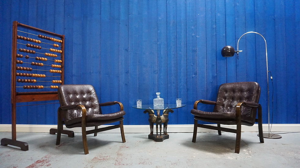 Pair Of Göte Möbler, Nässjö Leather Armchairs,1970s Gote Moobler