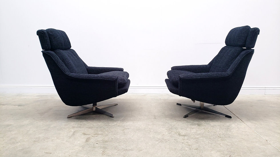 1960 Danish Swivel Chairs by Werner Langenfeld for ESA in Black
