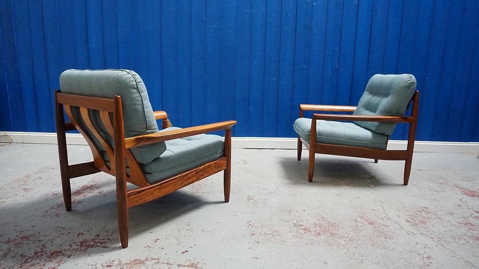 Mid Century Modern Danish Teak Armchairs 1960's, Set of 2
