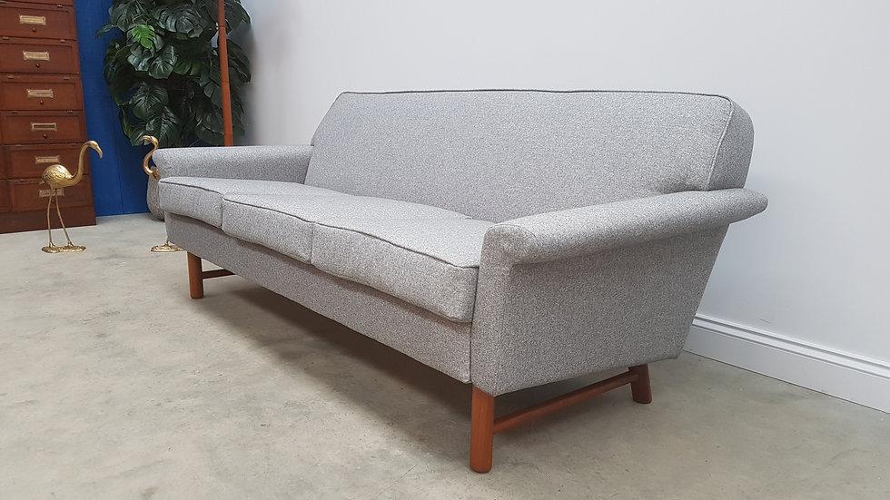 Mid Century 3 Seat Danish Sofa in Teak Wood and Grey Upholstery, 1960