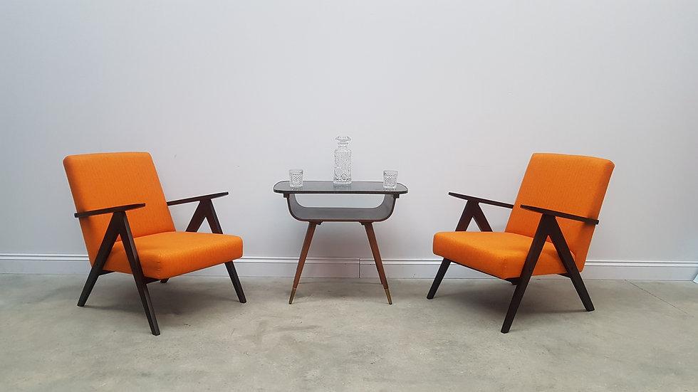 Pair of 1960 Mid Century Easy Chairs Model B - 310 Var in Rusty Orange Tweed