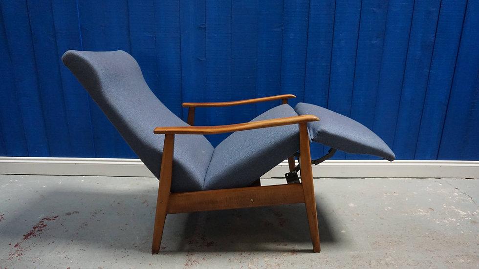 1960's Mid Century Danish Recliner Armchair in Blue upholstery.