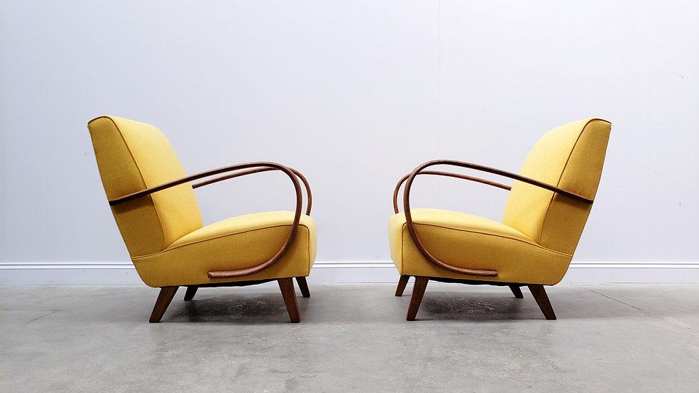 1930 Jindrich Halabala Bentwood Armchair in Yellow