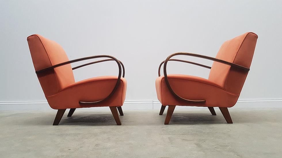 1930 Jindrich Halabala Bentwood Armchairs in Rusty Orange Velvet, 1 of 2