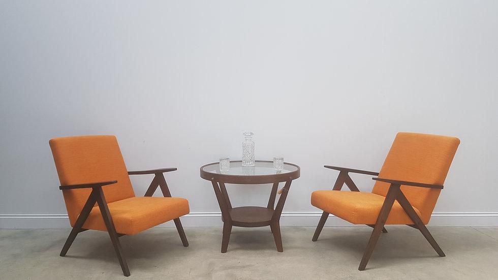 Mid Century Easy Chairs Model B - 310 Var in Rusty Orange, 1 of 2