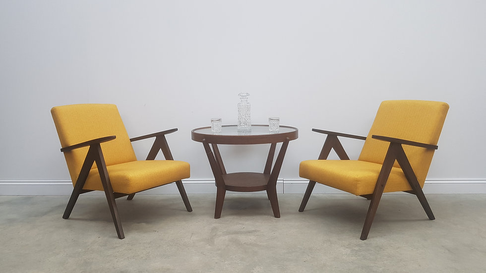 Mid Century Easy Chairs Model B - 310 Var in Yellow Tweed, 1 of 2