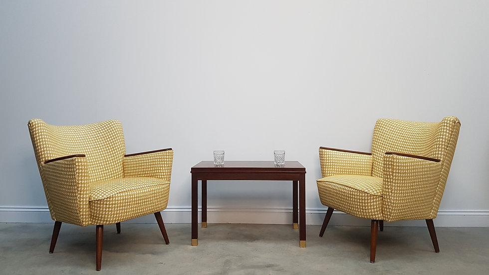 2 x Mid Century Cocktail, Club Chairs, in Yellow, 1960